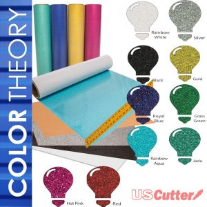 "Color Theory Glitter Heat Transfer Vinyl (HTV), 10-Color Starter BUNDLE of 12"" x 20"" Sheets"