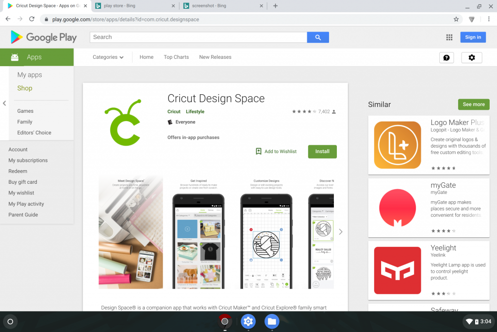 Cricut Design Space Chromebook Android